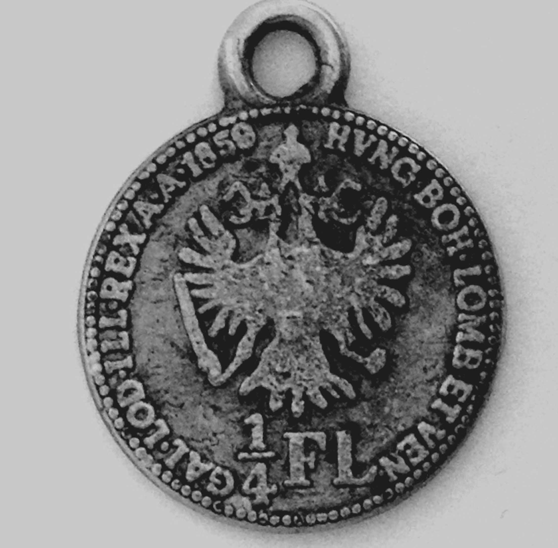 1/4 Флорина 1859 А Австрия  (Серебро) кулон фото 2