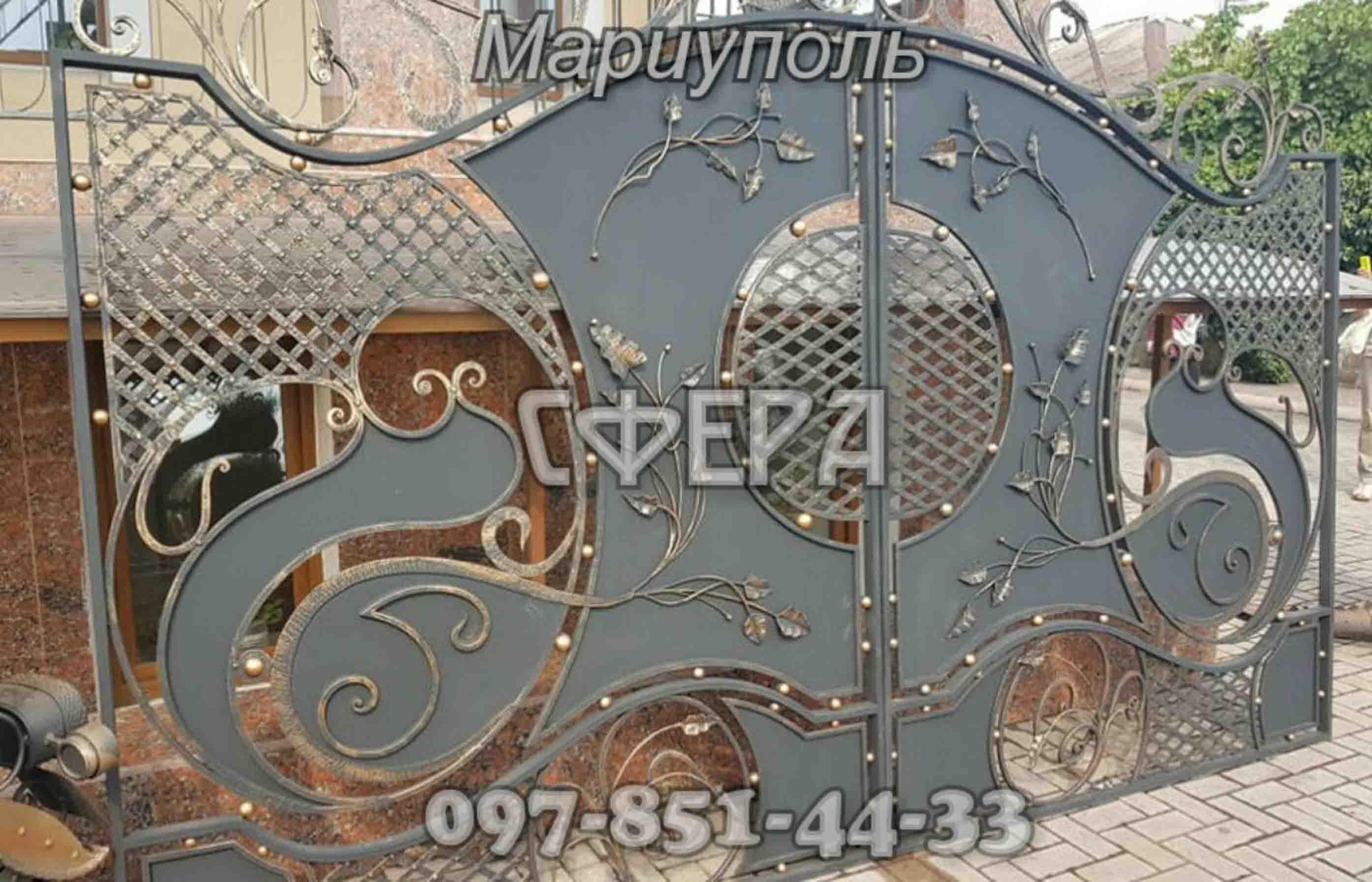 Кованые ворота, металлические, въездные. Мариуполь. фото 2