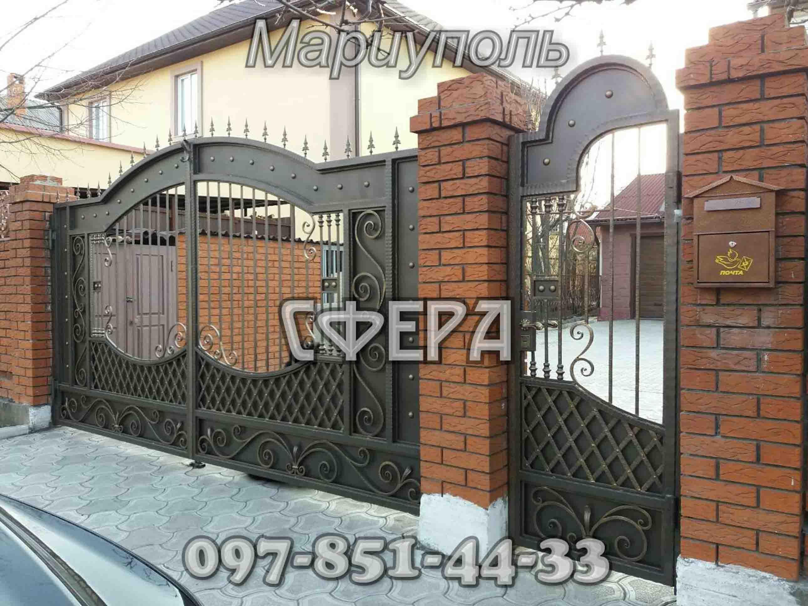 Кованые ворота, металлические, въездные. Мариуполь. фото 3