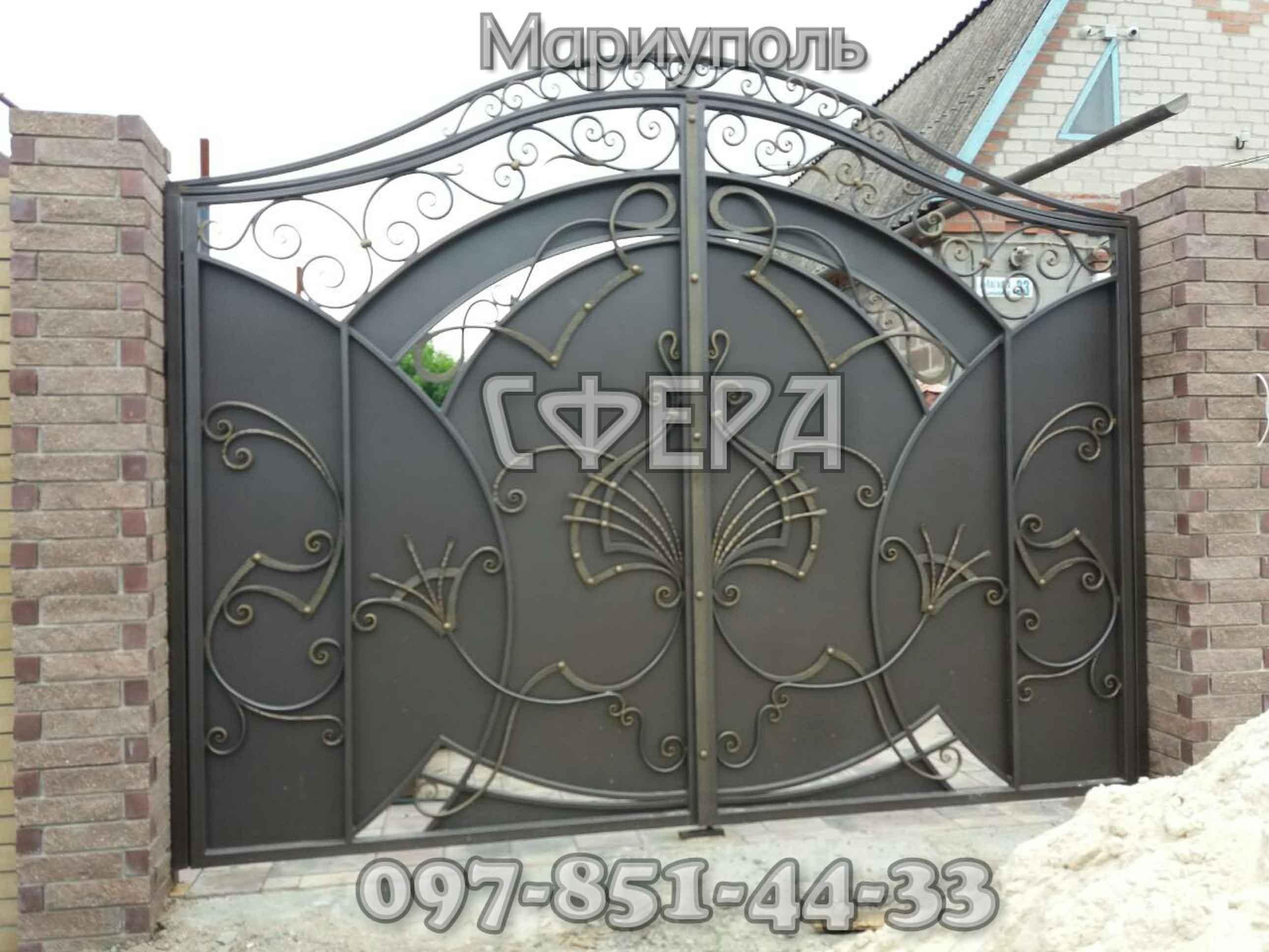 Кованые ворота, металлические, въездные. Мариуполь. фото 6