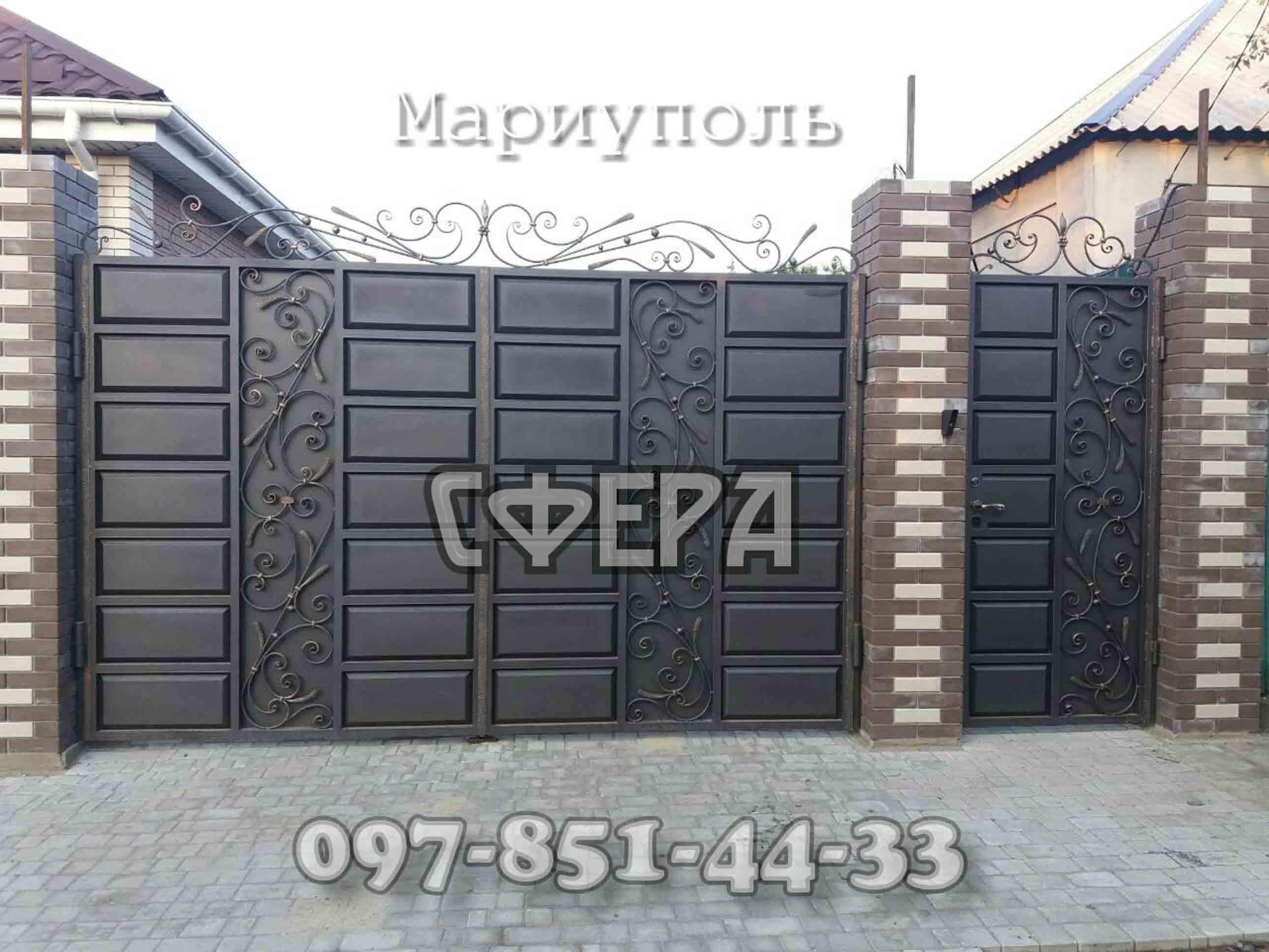 Кованые ворота, металлические, въездные. Мариуполь. фото 7