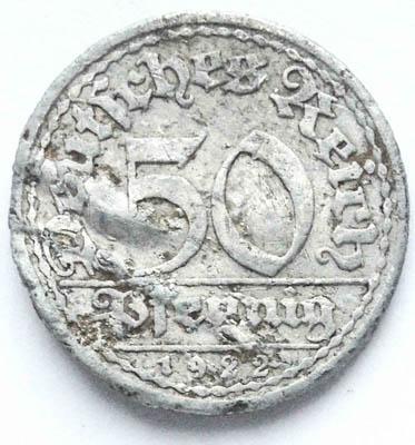 монета 50 пфенингов А 1922 г. Германия
