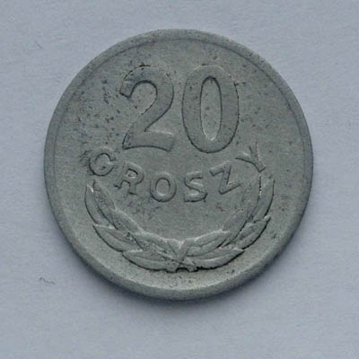 20 грошей 1973 без отметки манетного двора.Польша