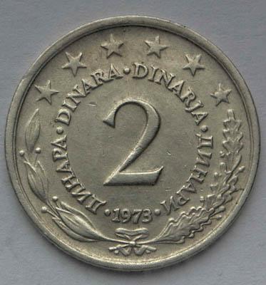 Монета 2 динара 1973  Югославия