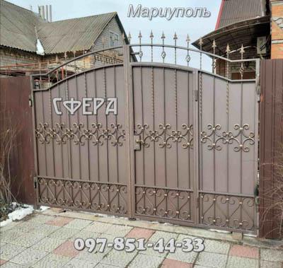 Ворота металлические, въездные, распашные, кованые. Мариуполь.