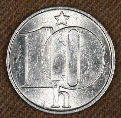 Монета Чехословакии 10 гелер 1976 год
