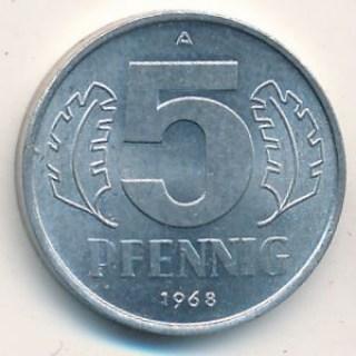 Монета   Германии 5 пфенинг 1968 год
